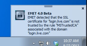 EMET detected that the SSL certificate for