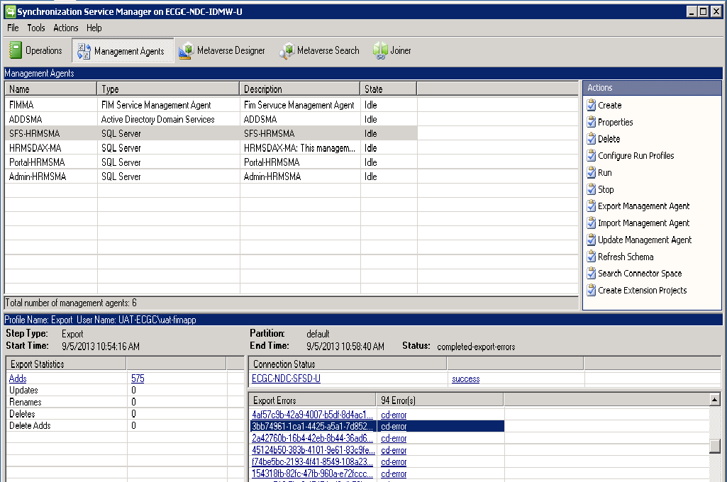 UsersSynchronization Export Error cd-error