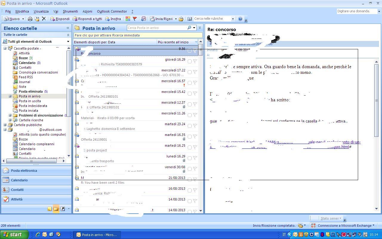 Presenza nel client Outlook2007 di due caselle di posta, una aziendale una privata