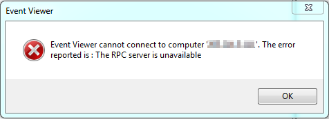 The RPC server is unavailable using Event Viewer and