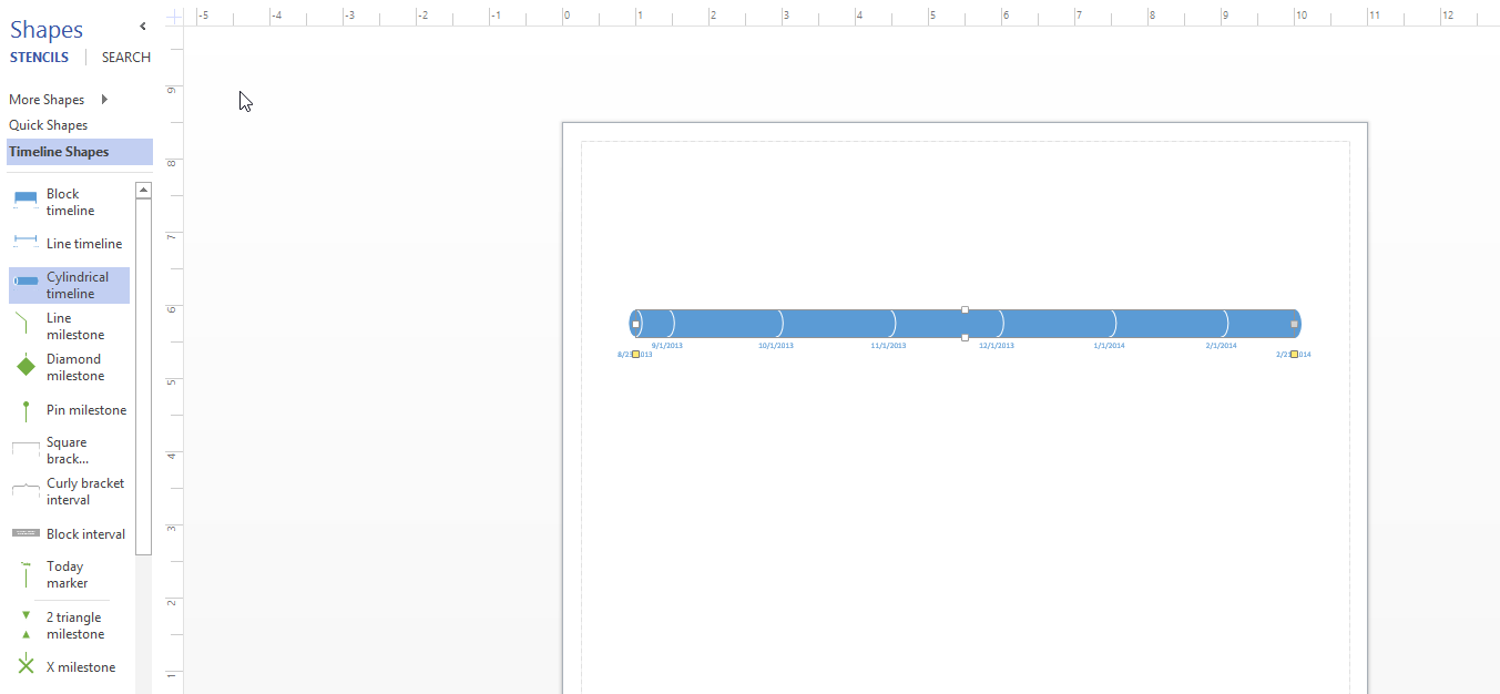 and i find the cylinder timeline in visio 2013 like this - Visio Timeline Shapes