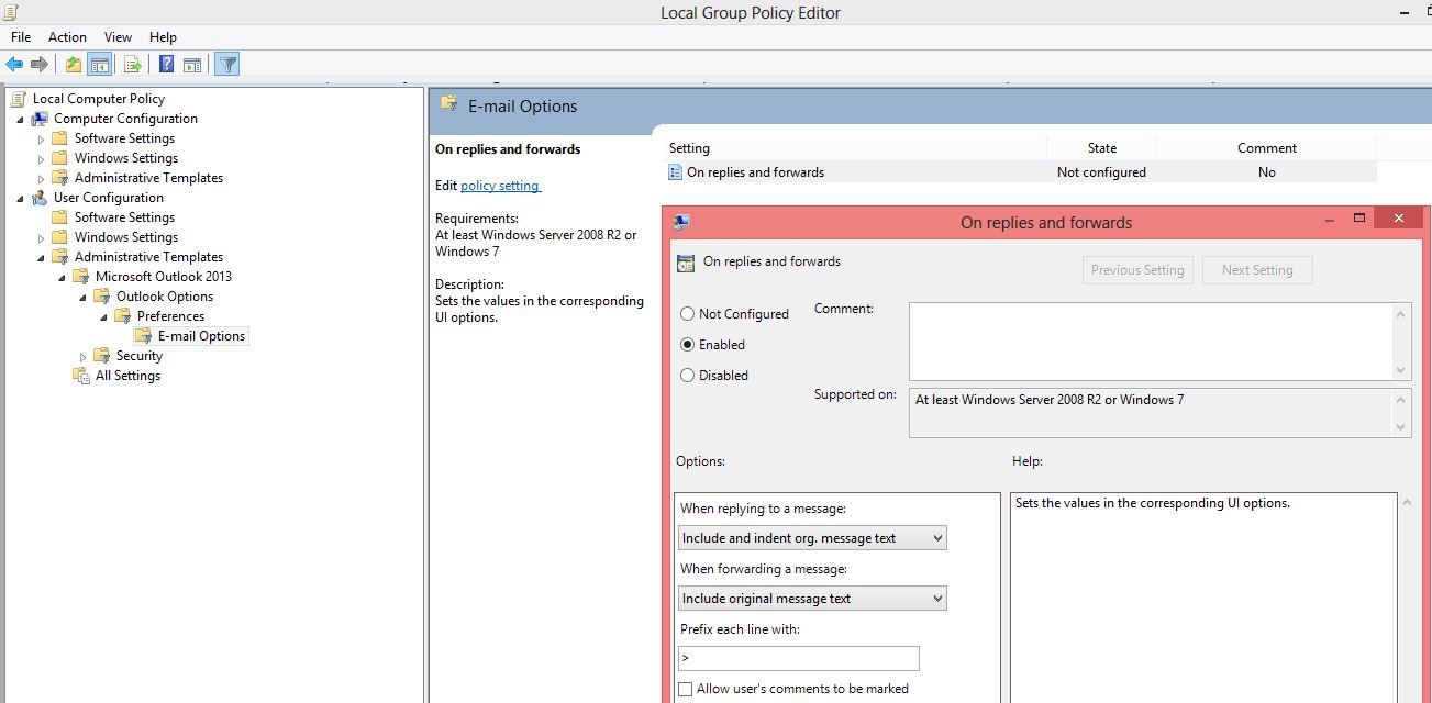 Close original message gpo setting user configuration administrative templates microsoft outlook 2013 outlook option preferences email options on replies and forwards maxwellsz