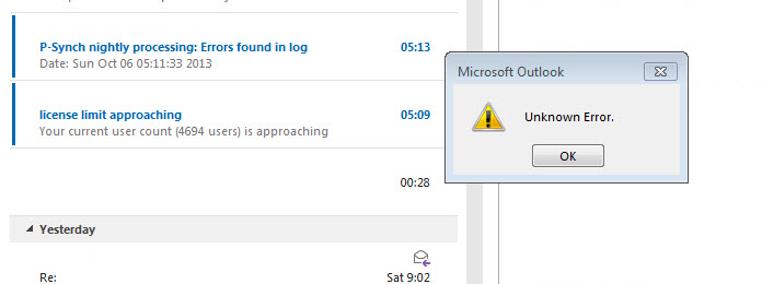 Using The Outlook 2013 Client On Office 365 Not Using Cached Mode Get This Error When Im Deleting Quickly