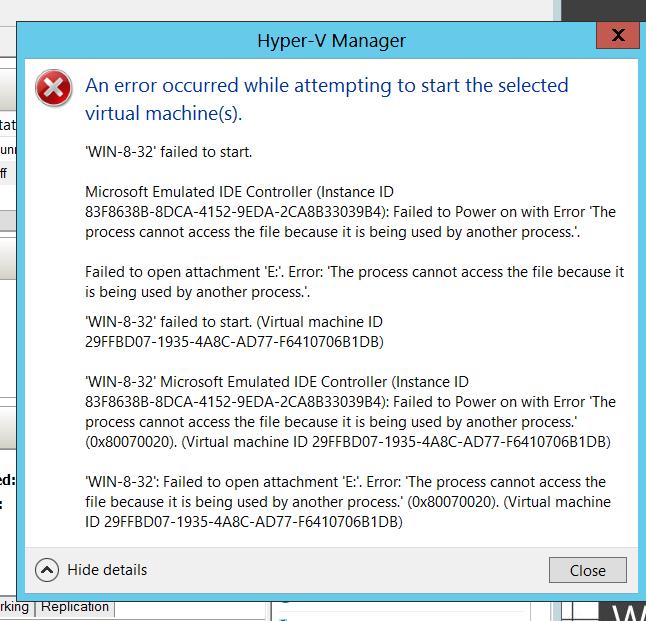 ניסיון להפעיל שני מכונות ורטואליות  על שרת 2012  STANDARD  ( אפשרי עד שני מכונות ורטואליות)- בהפעלת מכונה שניה מופיעה  הודעת השגיאה