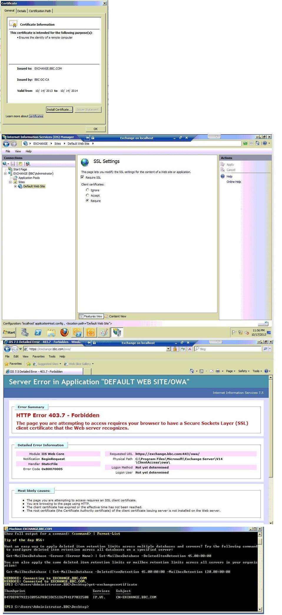 Exchange 2010 Certificate Error