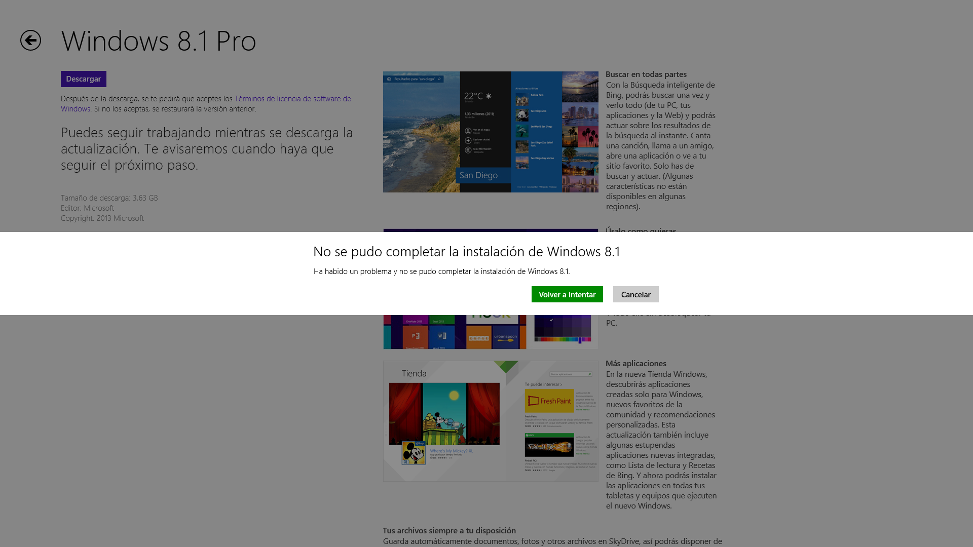 Error al actualizar a Windows 8.1 Pro