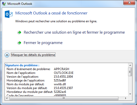 Outlook 2013 crash when opening an instance of a recurring