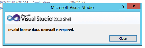 Invalid license data.  Reinstall is required.
