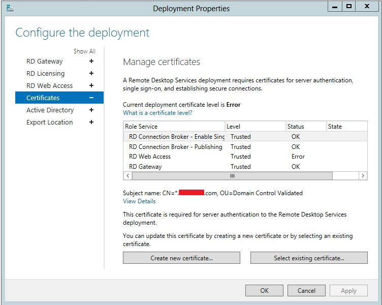 Certificate setup issue for rds in server 2012 the error message that comes up is warning could not configure the certificate on one or more servers ensure that the servers are available on the yadclub Images