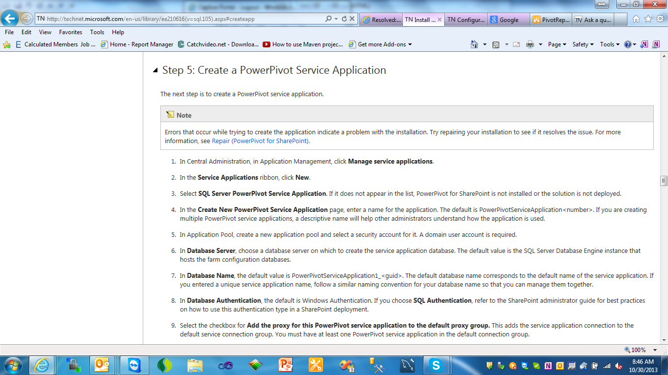 """This STEP5 has 10 directives , we fill out the sp2010 screen, but when we  click on """"OK"""" to process the request, SharePoint returns an error message  with the ..."""