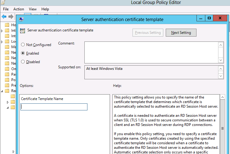 Certificate setup issue for rds in server 2012 in regards to your adding the template under server authentication certificate template i can let you know that when you enable the option then the yelopaper Image collections