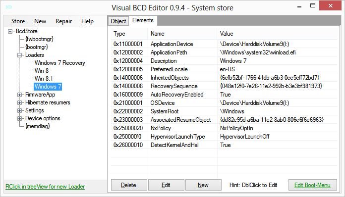 VisualBCD showing Windows 7 efi loader