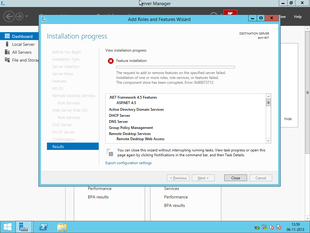 windows server 2016 the component store has been corrupted