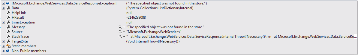 The Specified Object was not found in the store. Microsoft.Exchange.WebServices.Data.ServiceResponseException was caught   HResult=-2146233088   Message=The specified object was not found in the store.   Source=Microsoft.Exchange.WebServices   StackTrace:        at Microsoft.Exchange.WebServices.Data.ServiceResponse.InternalThrowIfNecessary()        at Microsoft.Exchange.WebServices.Data.ServiceResponse.ThrowIfNecessary()        at Microsoft.Exchange.WebServices.Data.MultiResponseServiceRequest`1.Execute()        at Microsoft.Exchange.WebServices.Data.ExchangeService.GetUserConfiguration(String name, FolderId parentFolderId, UserConfigurationProperties properties)        at Microsoft.Exchange.WebServices.Data.UserConfiguration.Bind(ExchangeService service, String name, FolderId parentFolderId, UserConfigurationProperties properties)