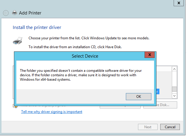 I am on my 2012 R2 server, when I go to add a new printer I select my 32 bit V3 driver and I get this error