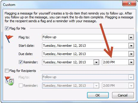 how to change outlook time