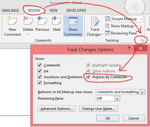 Word 2013 - Track Changes - Not showing comment author's name