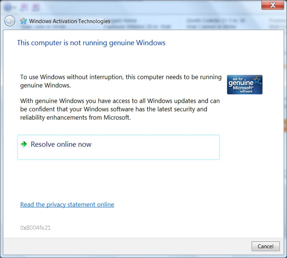 Questo messaggio informa l'utente che la copia di Windows in uso potrebbe non essere autentica