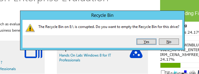 The Recycle Bin is corrupted on Cluster Node. We are using Windows