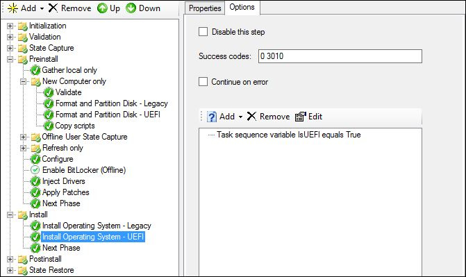 MDT Config UEFI Specific disk and partition?