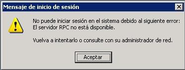 el servidor rpc no esta disponible: