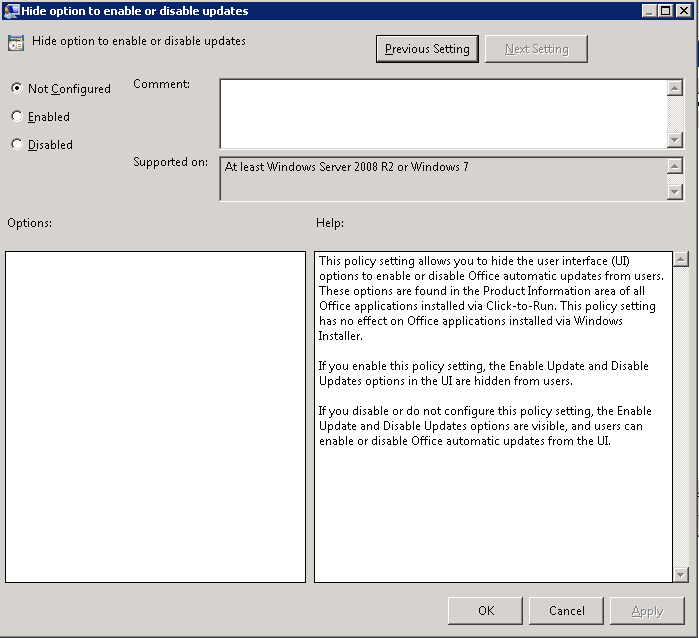 PS2013 Group Policy Update Settings