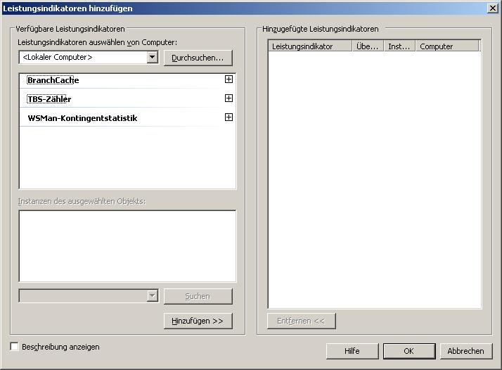 Add Performance Counters Window