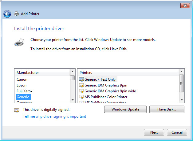 Install Generic Text Only Printer Driver Windows Xp
