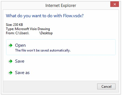 if i click open then visio itself will open with the document loaded the save options will just open the save dialog and allow me to save the file - Open Visio Files Without Visio