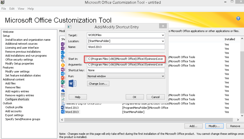 Office 2013 customization tool oct does not add shortcut in startmenu location - Office customization tool ...