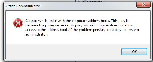 Ocs address book not updating