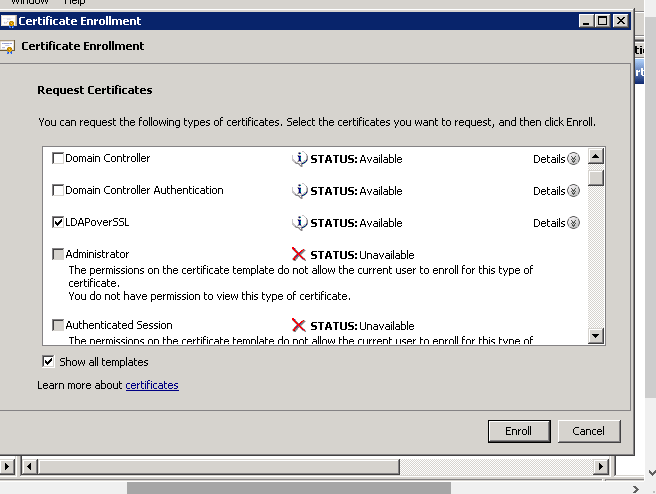 Security forum the permision on the certificate template do not allow the current user to enrol for this type of certificate you do not have perssmion to view this yelopaper Choice Image