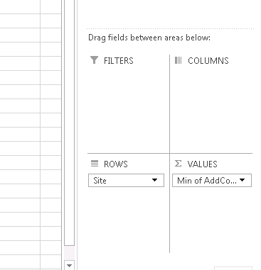 Values agreegated column