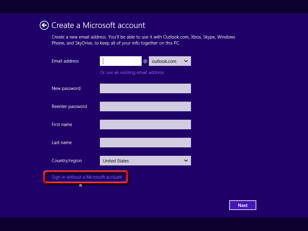"Skip ""Sign in to your Microsoft account"" (Windows 8 1 Setup)?"