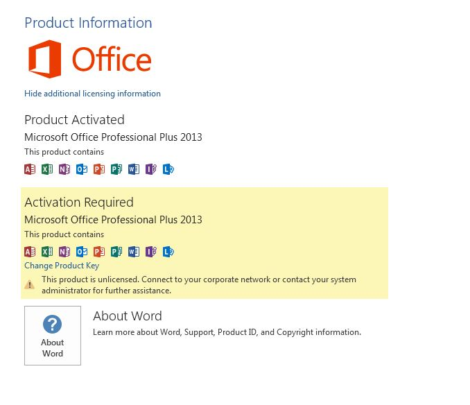microsoft office change activation key