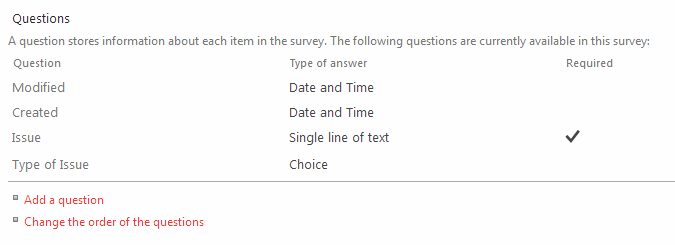 Questions on Survey List
