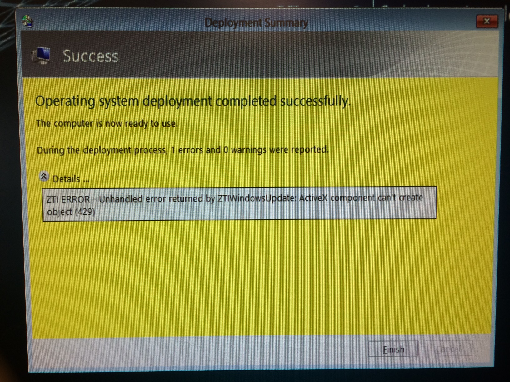 ZTI ERROR - Unhandled error returned by ZTIWindowsUpdate: ActiveX component can't create object (429)