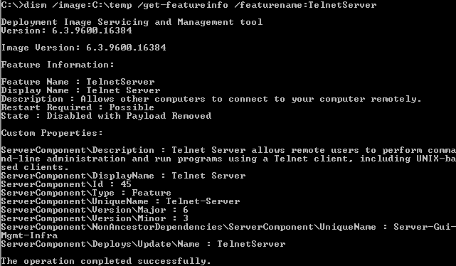 install telnet server 2012 r2 powershell