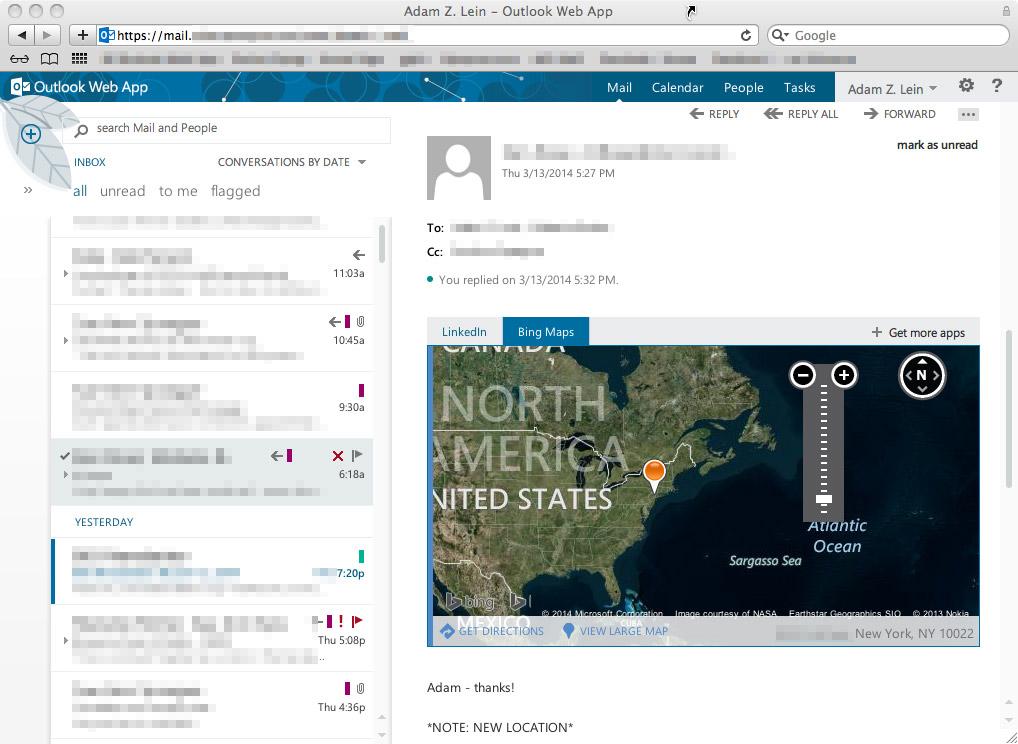 outlook webmail mac os x