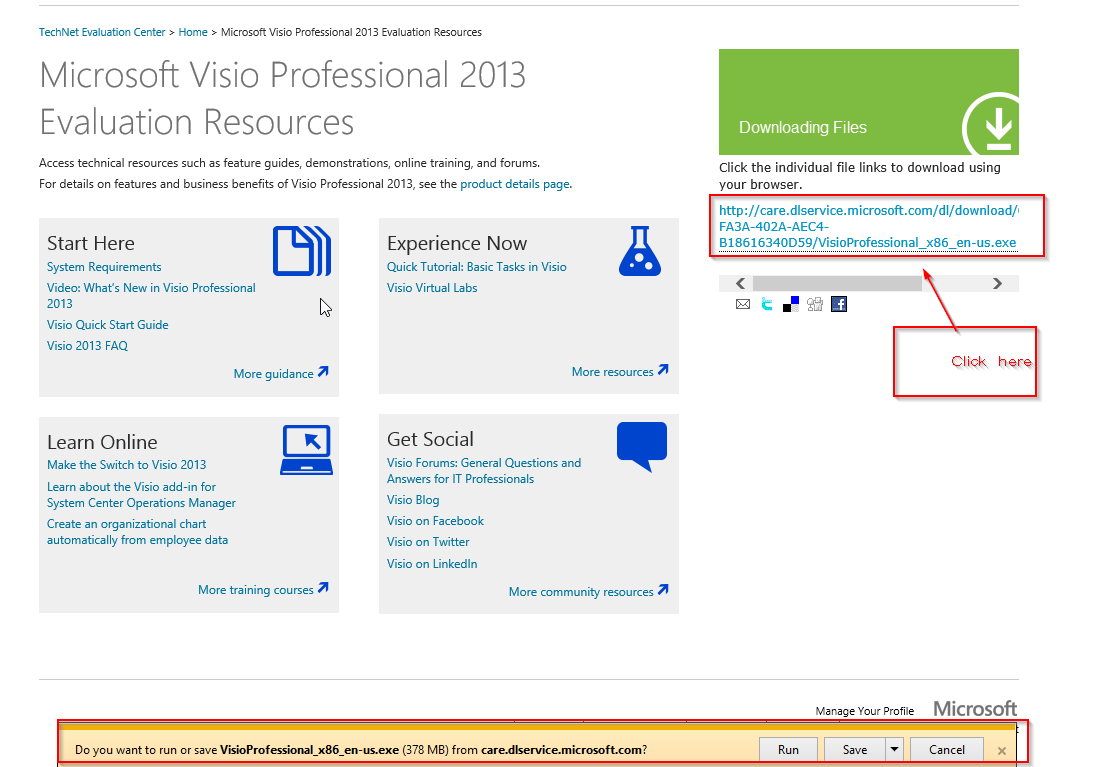 cant open the download link or get 404 error - Ms Visio Trial Download