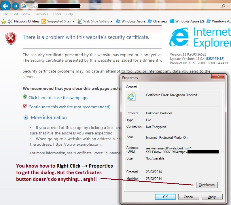 Unable To View Ssl Certificate In Ie11