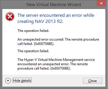 Hyper-V RPC Errors - Cannot create any VMs