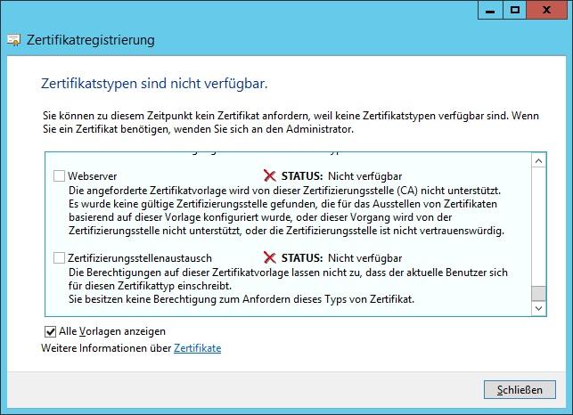 Zertifikatstypen sind nicht verfügbar - Erstellen eines neuen ...