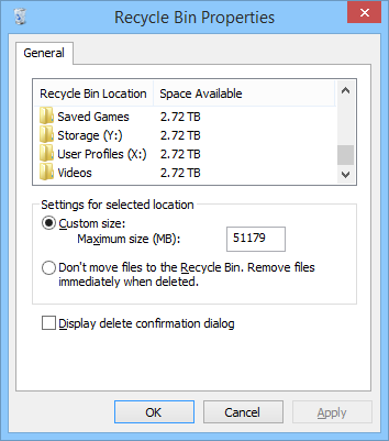 Enable Recycle Bin on mapped network drives