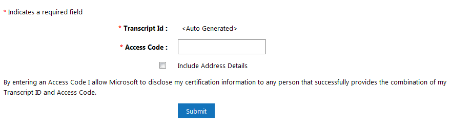 MCP transcript sharing form with no transcript id