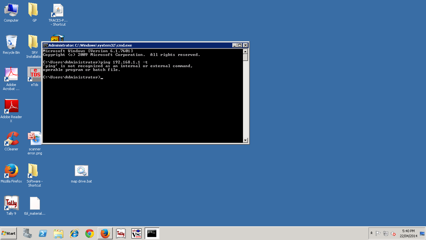 ping command is not working on server 2008 r2