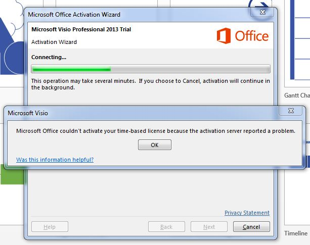 can not activate visio 2013 pro 60 day trial