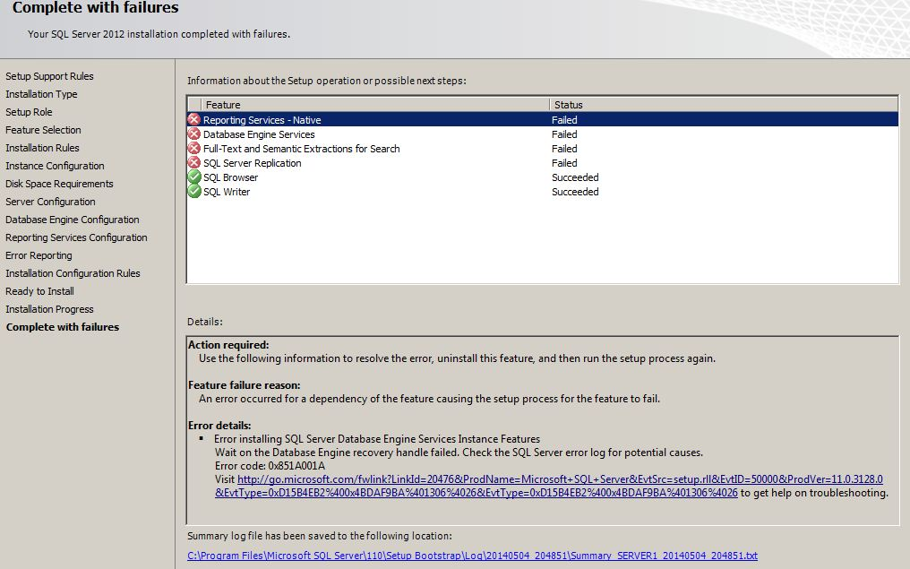I get one or the other error when i install SQL server 2012