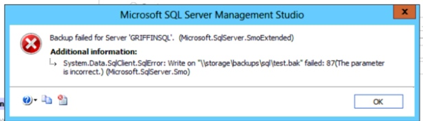 SQL Backup fails with error 87 parameter incorrect