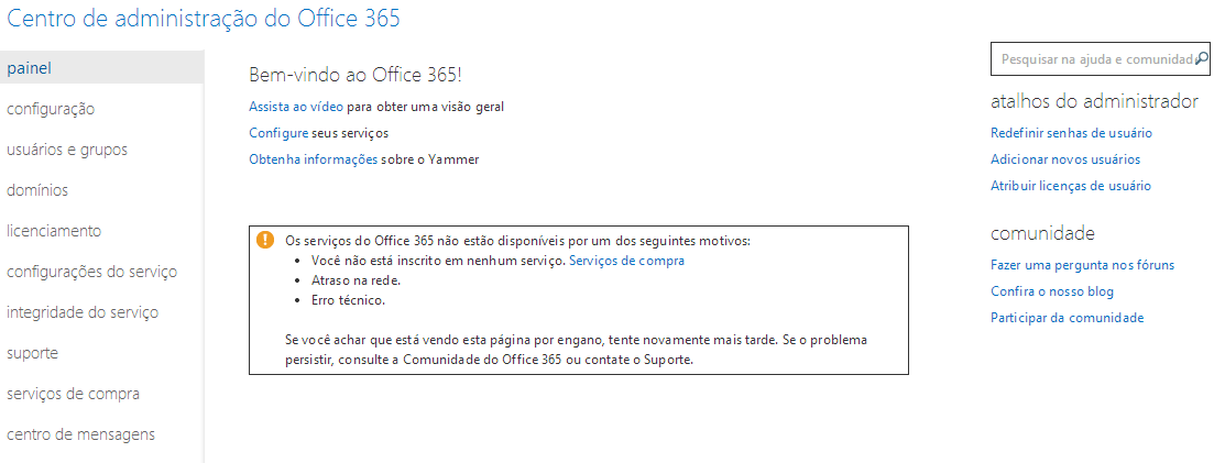 painel office 365